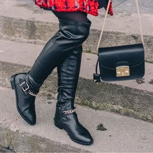 New Zara Over The Knee Black Boots